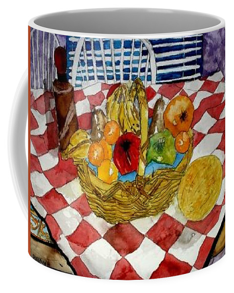 Still Life Watercolor Coffee Mug featuring the painting Still Life Art Fruit Basket 3 by Derek Mccrea