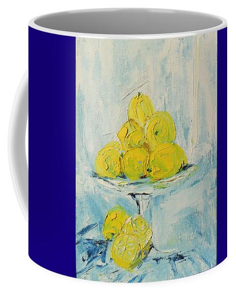 Oil Coffee Mug featuring the painting Still Life - Lemons by Shirley Heyn