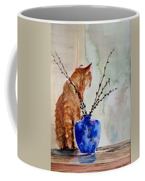 Cat Coffee Mug featuring the painting Still Life by Lynee Sapere