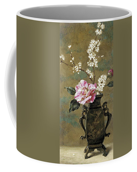 Helen Cordelia Angell Coffee Mug featuring the drawing Still Life Of Pink Roses by Helen Cordelia Angell