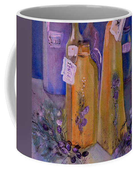 Still Life Olive Oil And Olive Twig Coffee Mug featuring the painting Still Life Olive Oil And Olive Twigs by Sabina Von Arx