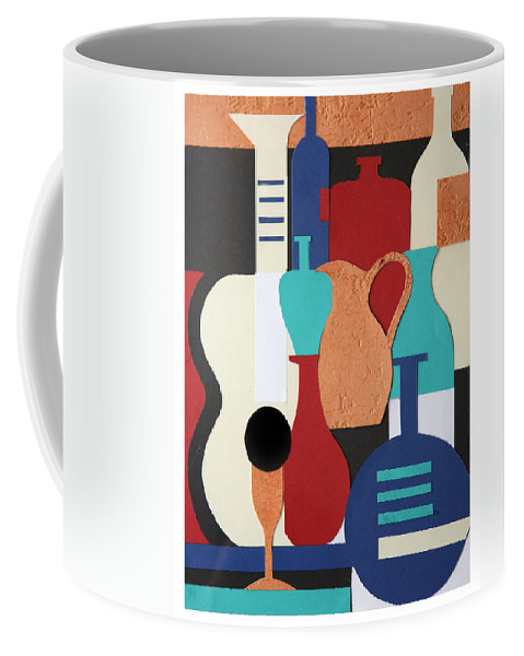 Still Life Coffee Mug featuring the mixed media Still Life Paper Collage Of Wine Glasses Bottles And Musical Instruments by Mal Bray