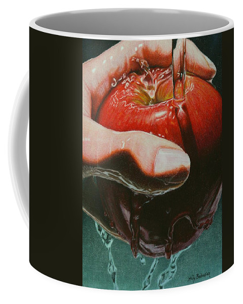 Apple Coffee Mug featuring the drawing Still Life Sabotage by Holly Bedrosian