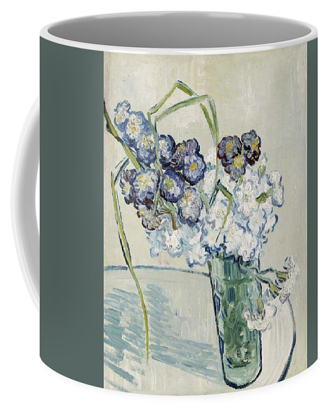 Art Coffee Mug featuring the painting Still Life, Vase Of Carnations by Artistic Panda