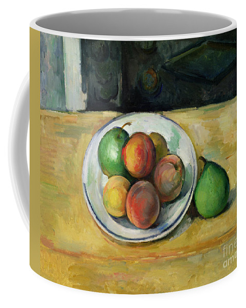 Still Coffee Mug featuring the painting Still Life With A Peach And Two Green Pears by Paul Cezanne