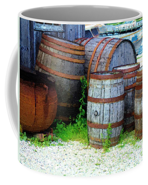 Antique Coffee Mug featuring the painting Still Life With Barrels by RC DeWinter
