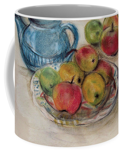 Teapot Coffee Mug featuring the pastel Still Life With Blue Teapot 2 by Susan Adams