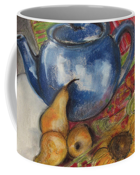 Still-life Coffee Mug featuring the painting Still Life With Blue Teapot One by Susan Adams