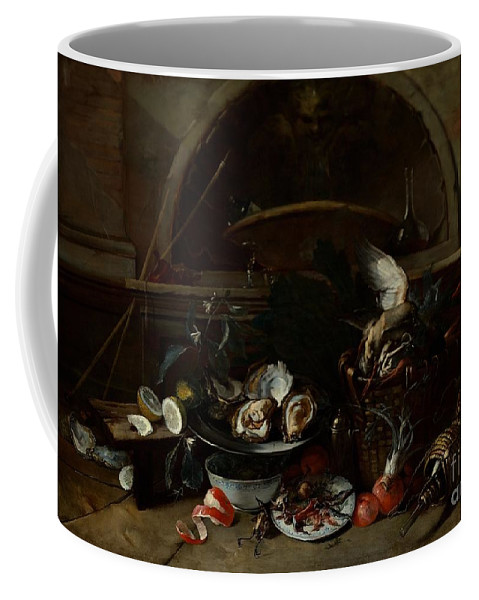 Nicola Van Houbraken - Still Life With Bottles And Oysters Coffee Mug featuring the painting Still Life With Bottles And Oysters by Celestial Images