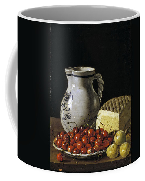 Luis Egidio Melendez Coffee Mug featuring the painting Still Life With Cherries Cheese And Greengages by Luis Egidio Melendez