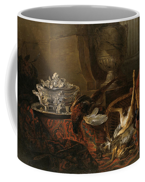 Still Life Coffee Mug featuring the painting Still Life With Dead Game And A Silver Tureen On A Turkish Carpet by Jean-Baptiste Oudry