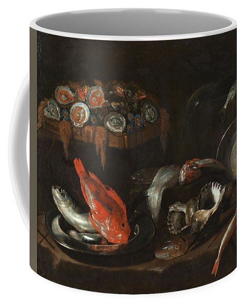 Still Life Coffee Mug featuring the painting Still Life With Fish And Oysters by Giovanni Battista Recco