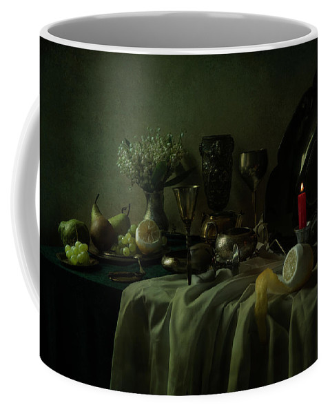 Still Life Coffee Mug featuring the photograph Still Life With Metal Dishes, Fruits And Fresh Flowers by Jaroslaw Blaminsky