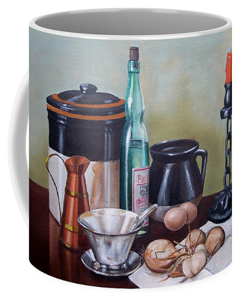 Still Life Coffee Mug featuring the painting Still Life With Onions And Eggs by Frank Wilson