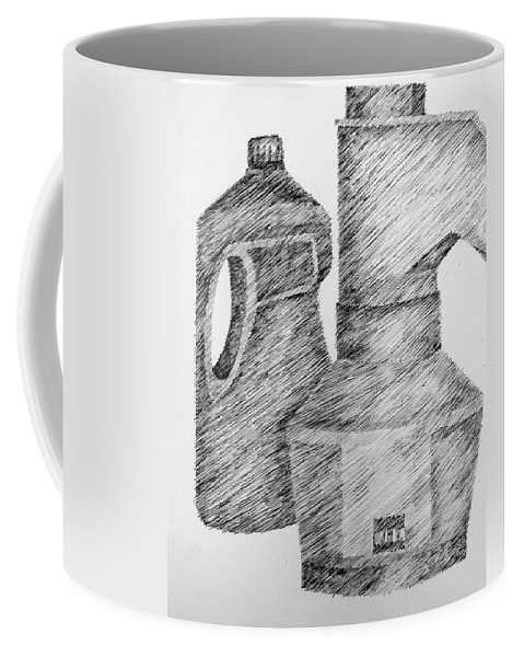 Still Life Coffee Mug featuring the drawing Still Life With Popcorn Maker And Laundry Soap Bottle by Michelle Calkins