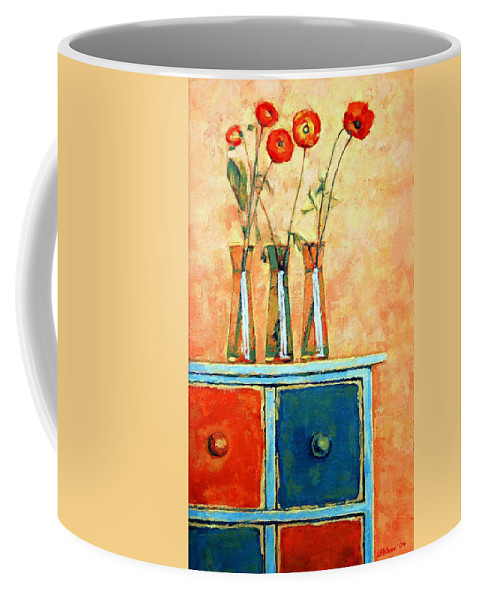 Poppies Coffee Mug featuring the painting Still Life With Poppies by Iliyan Bozhanov