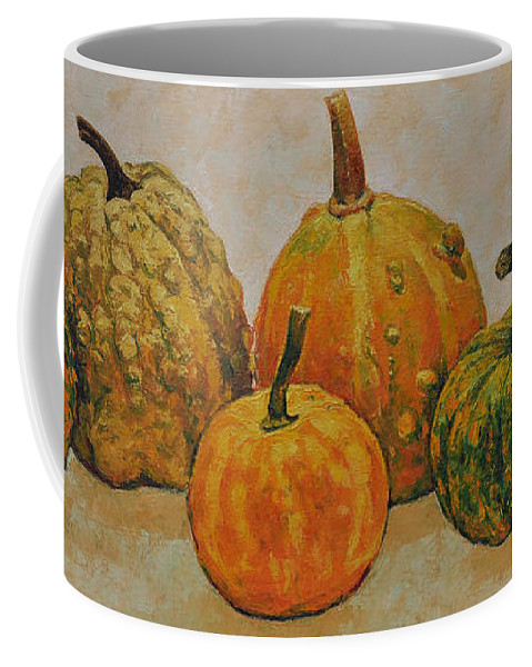 Still Life Coffee Mug featuring the painting Still Life With Pumpkins by Iliyan Bozhanov