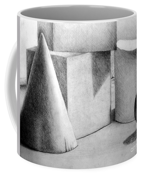 Drawing Coffee Mug featuring the drawing Still Life With Shapes by Nancy Mueller
