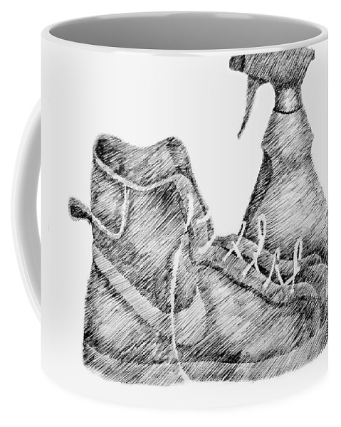 Pen Coffee Mug featuring the drawing Still Life With Shoe And Spray Bottle by Michelle Calkins