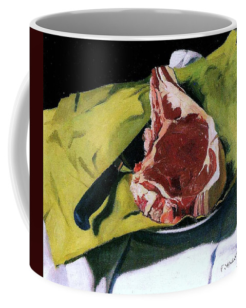 Pd Coffee Mug featuring the painting Still Life With Steak by Pg Reproductions