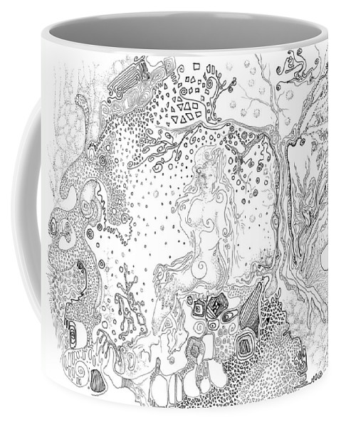 Girl Coffee Mug featuring the drawing Still Point In A Sea Change by Regina Valluzzi