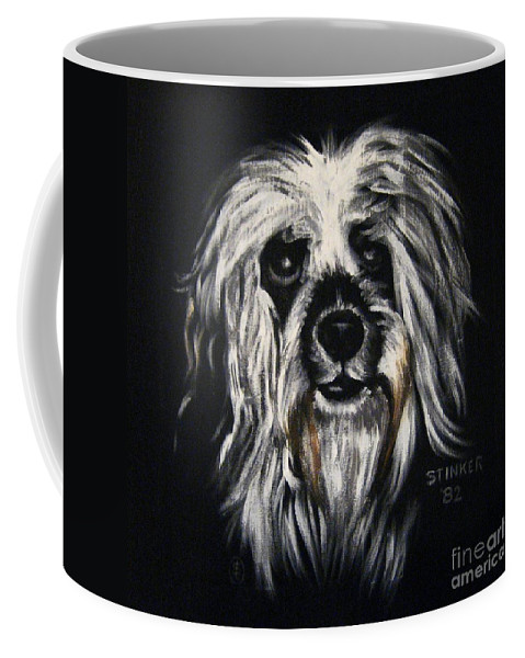 Dog Coffee Mug featuring the painting Stinker by Sherry Oliver