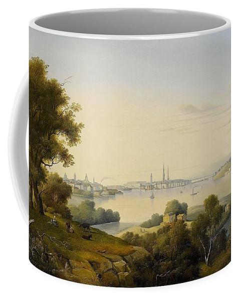 Carl Abraham RothstÉn 1826-1877 Stockholm Inlet Of Lake Mälaren Page Coffee Mug featuring the digital art Stockholm Inlet Of Lake by Mark Carlson