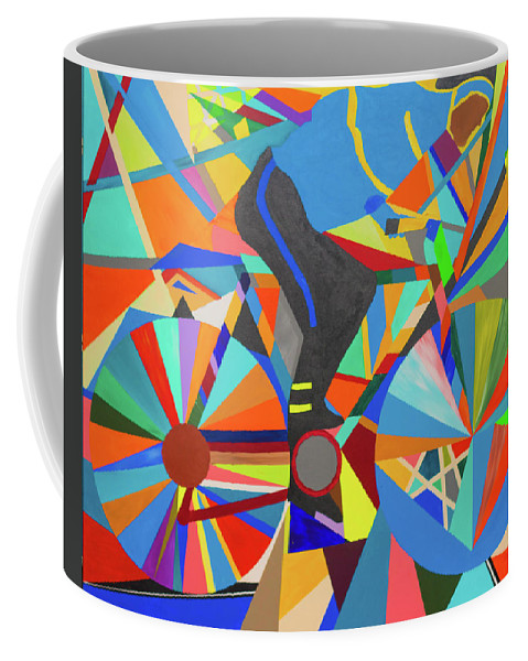 Polychromatic Coffee Mug featuring the painting Stolen Bike by Ulrich Caster Adimou