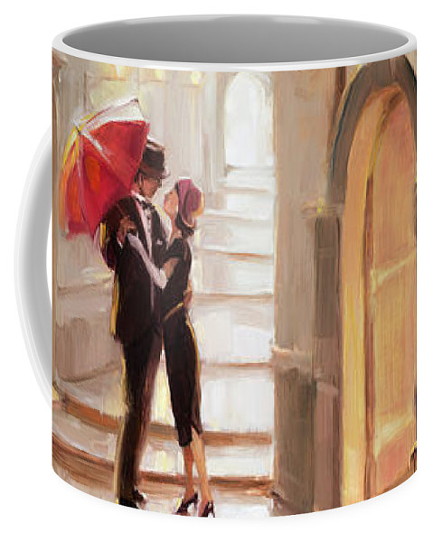 Love Coffee Mug featuring the painting Stolen Kiss by Steve Henderson