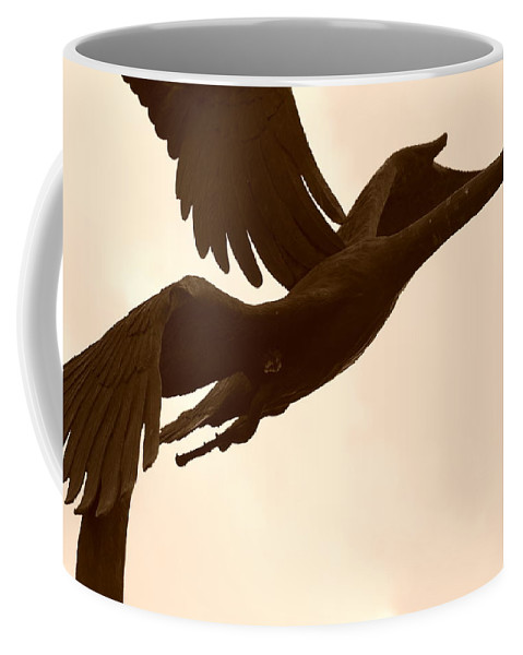 Sepia Coffee Mug featuring the photograph Stone Birds by Rob Hans