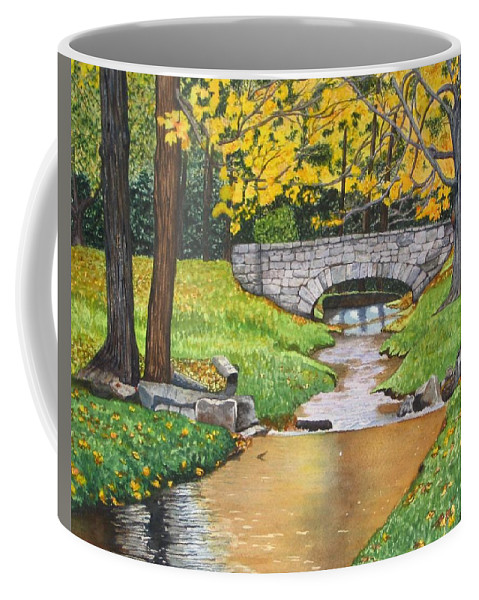 Landscape Coffee Mug featuring the painting Stone Bridge by Sharon Farber