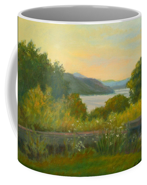 Hudson River Coffee Mug featuring the painting Stone Wall Above The Hudson by Phyllis Tarlow