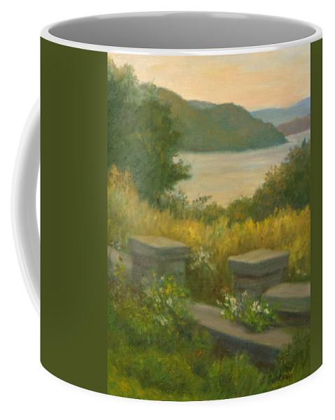 Landscape Coffee Mug featuring the painting Stone Wall On The Hudson by Phyllis Tarlow