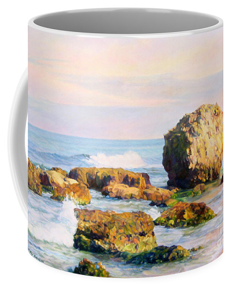 The Sky Coffee Mug featuring the painting Stones In The Sea by Maya Bukhina