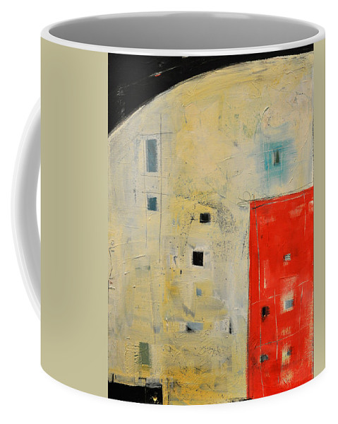 Abstract Coffee Mug featuring the painting Storage Shed by Tim Nyberg