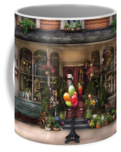 Savad Coffee Mug featuring the photograph Store - Strasburg Pa - Petals And Beans by Mike Savad