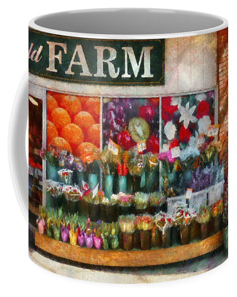 New Jersey Coffee Mug featuring the photograph Store - Westfield Nj - The Flower Stand by Mike Savad