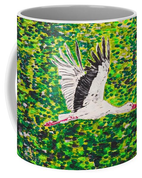 Stork Coffee Mug featuring the painting Stork In Flight by Valerie Ornstein
