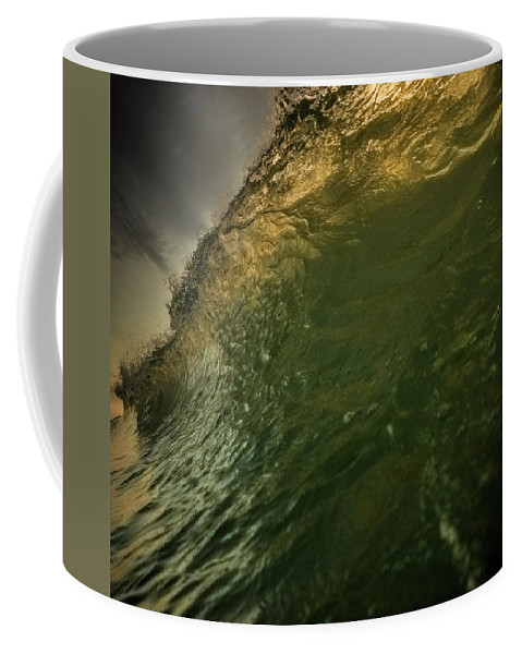 Wave Sunrise Sun Ocean Beach Island Tropical Colorful Outdoors Water Nature Landscape North Carolina Eastern Fish Green Yellow Surf Surfing Powerful Storm Fury Furious Splash Golden Stormy Day Cloudy Dark Sky Coffee Mug featuring the photograph Storm Approaching by Joseph McGrew