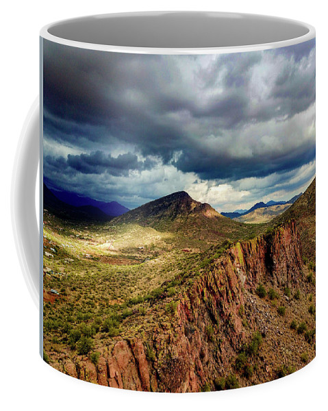 Drone Photography Coffee Mug featuring the photograph Storm Over Cliffs by David Stevens