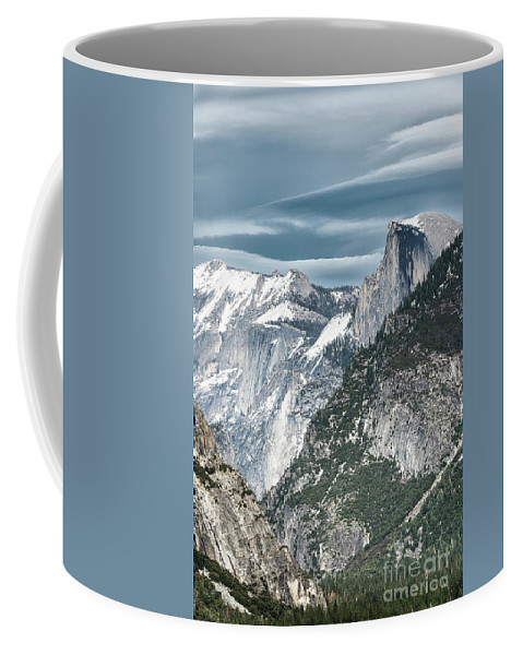 Black & White Coffee Mug featuring the photograph Storm Over Half Dome by Sandra Bronstein