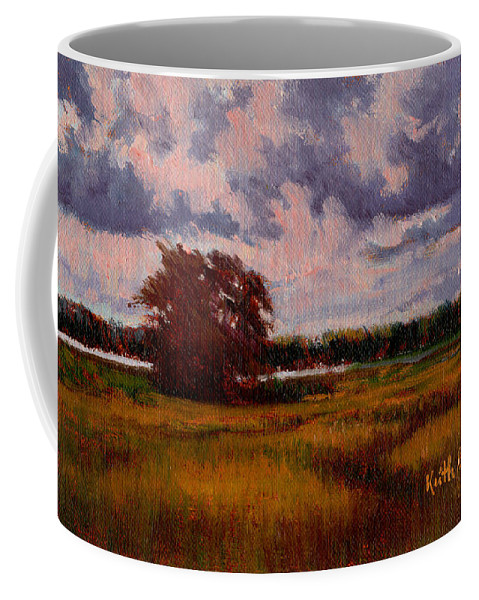 Landscape Coffee Mug featuring the painting Storm Over Marshes by Keith Burgess