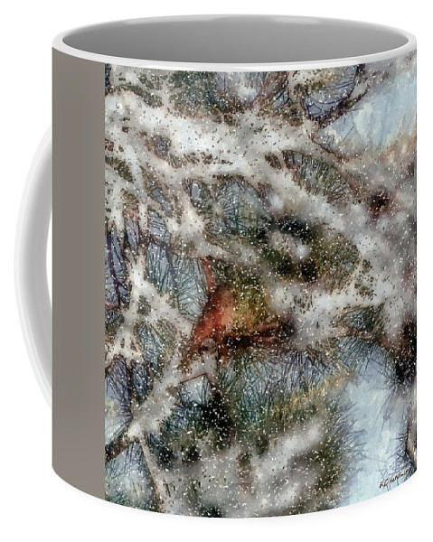 Bird Coffee Mug featuring the painting Storm Shelter by RC DeWinter