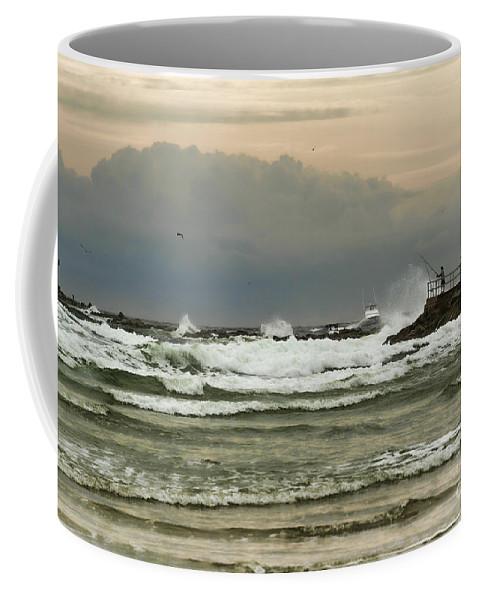 Ocean Coffee Mug featuring the photograph Stormy Fishing by Deborah Benoit