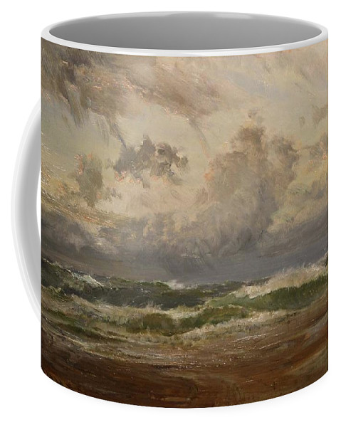 Edwin Hayes Rha Coffee Mug featuring the painting Stormy Sea At Bude by MotionAge Designs