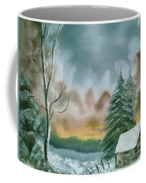 Winter Landscape Coffee Mug featuring the painting Stormy Sky by Jim Saltis
