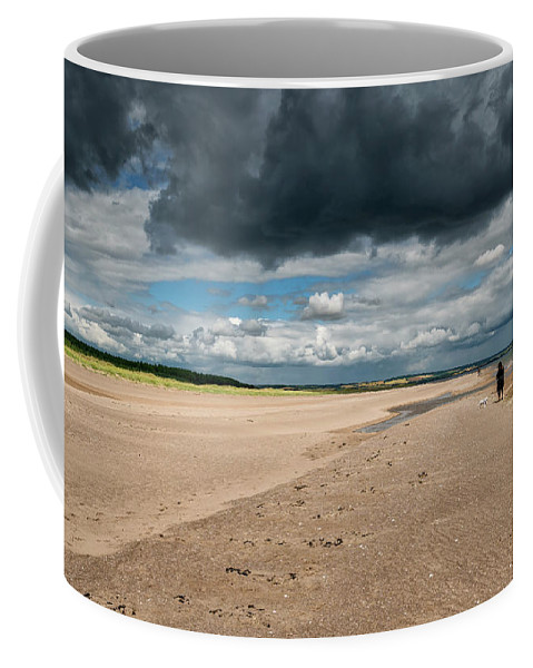 Sea Coffee Mug featuring the photograph Stormy Weather Over The Beach In Scotland by Jeremy Lavender Photography