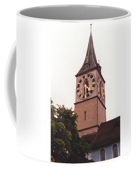 St.peter Coffee Mug featuring the photograph St.peter Church Clock In Zurich Switzerland by Susanne Van Hulst