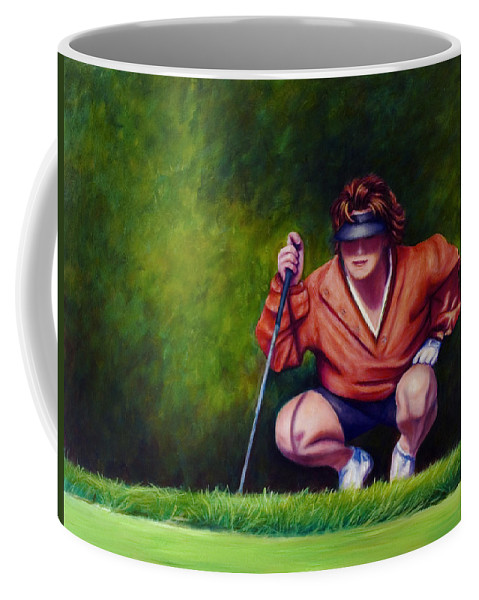 Golfer Coffee Mug featuring the painting Straightshot by Shannon Grissom
