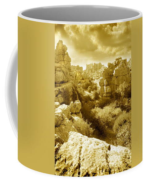 Rock Coffee Mug featuring the photograph Strange Rock Formations At El Torcal Near Antequera Spain by Mal Bray
